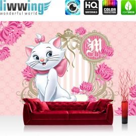 "Vlies Fototapete ""no. 1114"" | Disney Tapete Aristocats Kindertapete Cartoon Katze Spiegel Blumen rosa | liwwing (R)"