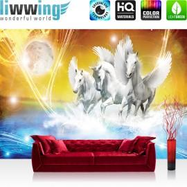 "Vlies Fototapete ""no. 1076"" | Tiere Tapete Pegasus Wasser Mond Sterne gelb blau Illustration Foto blau"