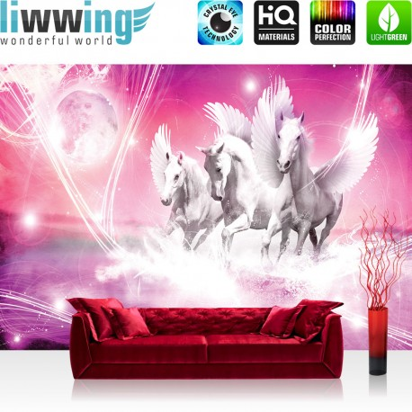 "Vlies Fototapete ""no. 1078"" | Tiere Tapete Pegasus Wasser Mond Sterne lila Illustration Foto lila"