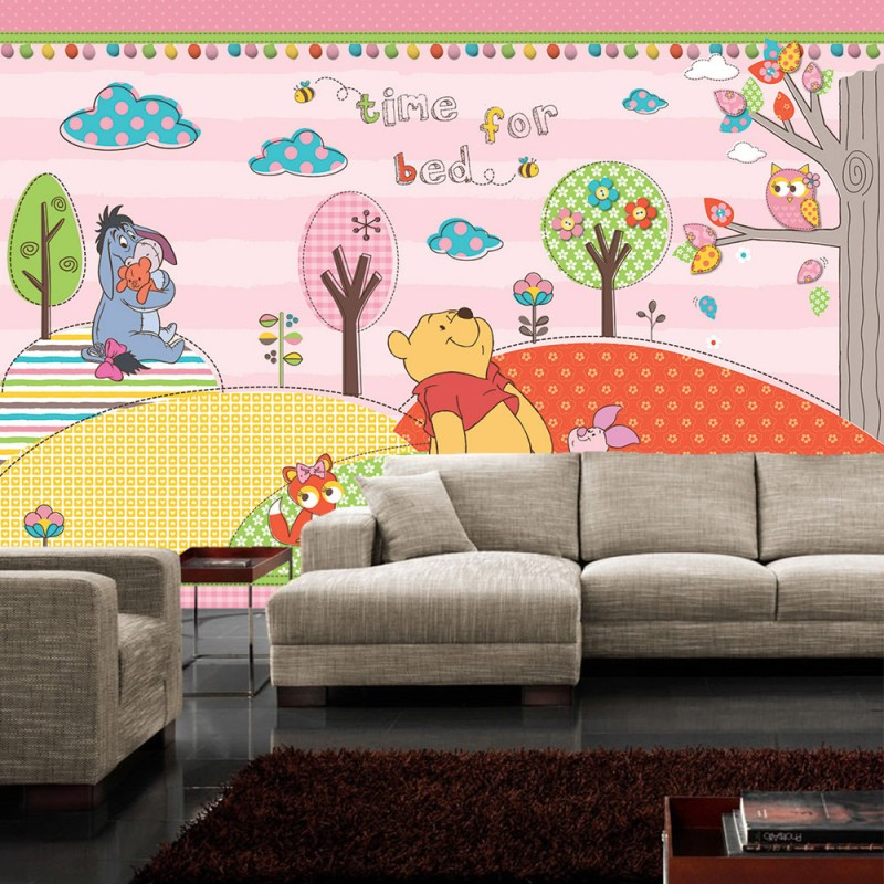 vlies fototapete no 1121 disney tapete winnie puuh kindertapete cartoon b r fuchs eule baum. Black Bedroom Furniture Sets. Home Design Ideas