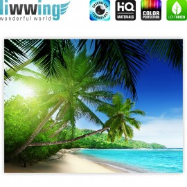 "liwwing (R) Marken Leinwandbild ""Paradise Beach"" | Classic (4:3) | Strand Meer Palmen Beach 3D Ozean Palme"