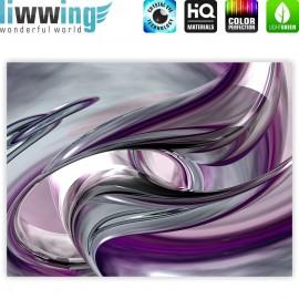 "liwwing (R) Marken Leinwandbild ""Liquid Climax"" | Classic (4:3) | 3D Digital Art Abstrakt Schwung blau rot lila"