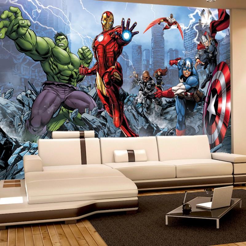 vlies fototapete no 1134 illustrationen tapete marvel avengers kindertapete cartoon comic. Black Bedroom Furniture Sets. Home Design Ideas