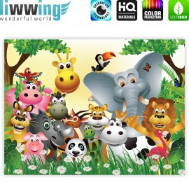 "liwwing (R) Marken Leinwandbild ""Jungle Animals Party"" 