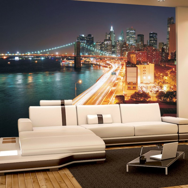 vlies fototapete no 1111 new york tapete skyline stra e new york lightning blau nacht night. Black Bedroom Furniture Sets. Home Design Ideas