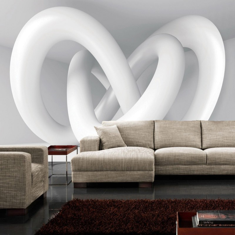 vlies fototapete no 1181 3d tapete abstrakt schlingen 3d architektur wei grau. Black Bedroom Furniture Sets. Home Design Ideas