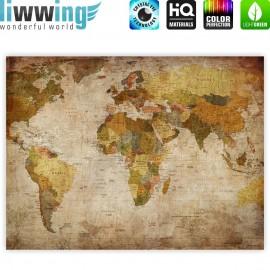 "liwwing (R) Marken Leinwandbild ""Vintage Atlas"" | Classic (4:3) | Weltkarte Atlanten Karte alte Karte alter Atlas"
