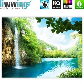 "liwwing (R) Marken Leinwandbild ""Waterfall in Paradise"" | Classic (4:3) | Wasserfall Berge See Wald Bäume Landschaft"