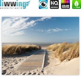 "liwwing (R) Marken Leinwandbild ""North Sea Dunes"" | Classic (4:3) | Strand Meer Ostsee Beach Blau Himmel Sonne Sommer"
