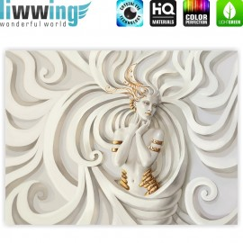 "liwwing (R) Marken Leinwandbild ""A Perfect Woman"" | Classic (4:3) | Frau Erotik Gold elegant 3D Wand"