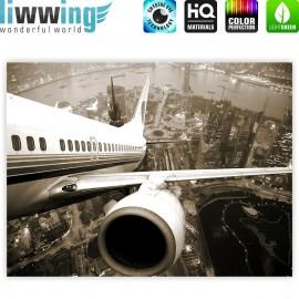 "liwwing (R) Marken Leinwandbild ""Skyline Fligt"" | Classic (4:3) | Skyline Flugzeug Urlaub braun sephia"
