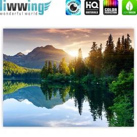 "liwwing (R) Marken Leinwandbild ""Mountain Lake View"" | Classic (4:3) | Berge See Sonnenuntergang Romantisch Bäume Wald"