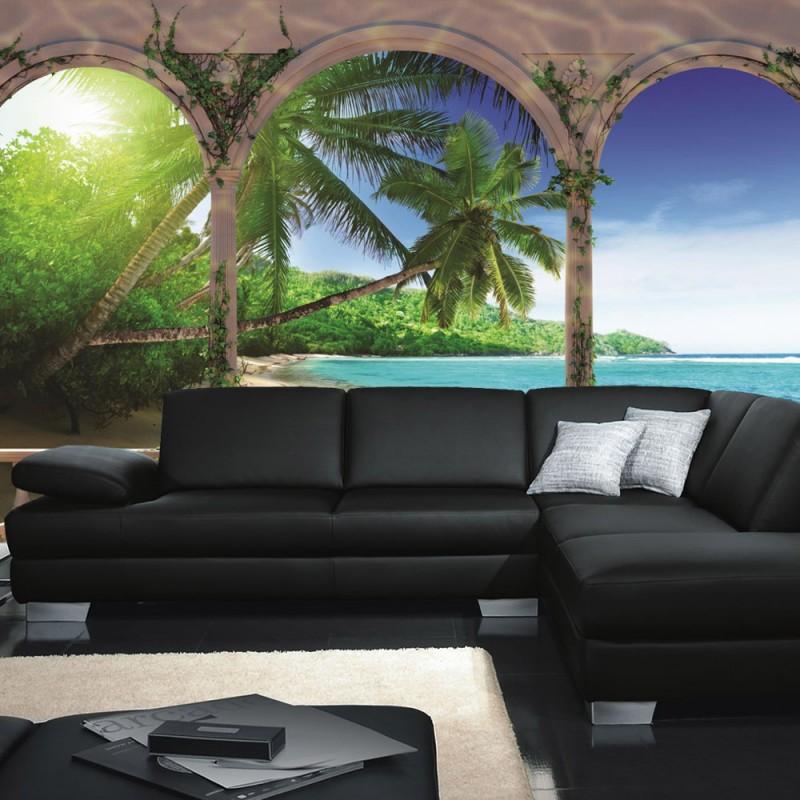 vlies fototapete no 1194 vliestapete liwwing r meer tapete bogen strand wasser palmen. Black Bedroom Furniture Sets. Home Design Ideas