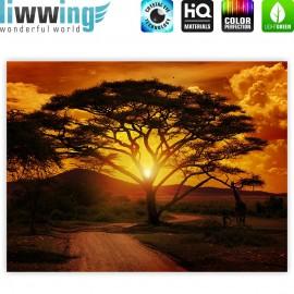 "liwwing (R) Marken Leinwandbild ""African Sunset"" | Classic (4:3) | Sonnenaufgang Arfika Steppe Giraffe Organge Safari"