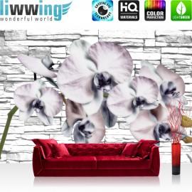 "Vlies Fototapete ""no. 1213"" | Orchideen Tapete Orchidee Steinwand Natur Pflanze Wand Steine weiß | liwwing (R)"