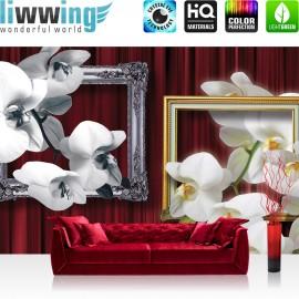 "Vlies Fototapete ""no. 1216"" | Orchideen Tapete Bilderrahmen Natur Vorhang Blume Pflanzen rot | liwwing (R)"