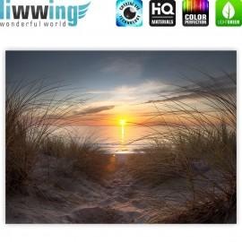 "liwwing (R) Marken Leinwandbild ""North Sea Sunset"" | Classic (4:3) | Strand Meer Ostsee Beach Blau Himmel Sonne Sommer"