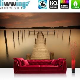 "Vlies Fototapete ""no. 1255"" | Wasser Tapete See Steg Nebel braun | liwwing (R)"