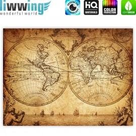 "liwwing (R) Marken Leinwandbild ""Vintage World Map"" | Classic (4:3) | Weltkarte Vintage Atlas alte Karte alter Altas"