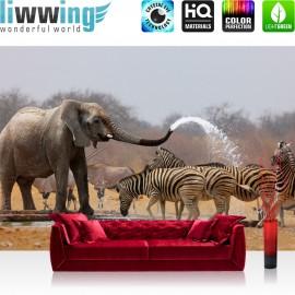 "Vlies Fototapete ""no. 1294"" | Afrika Tapete Elefanten Zebra Wasser Giraffe Antilopen braun | liwwing (R)"