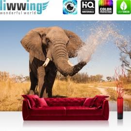 "Vlies Fototapete ""no. 1295"" | Afrika Tapete Elefant Wasser Teich Afrika braun | liwwing (R)"