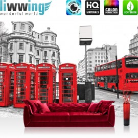 "Vlies Fototapete ""no. 1296""   London Tapete London Bus Telefonzelle schwarz - weiß   liwwing (R)"