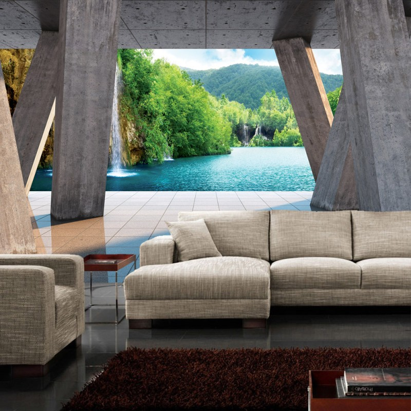vlies fototapete no 1297 vliestapete liwwing r meer tapete paradies wasserfall architektur. Black Bedroom Furniture Sets. Home Design Ideas