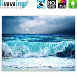 "liwwing (R) Marken Leinwandbild ""Blue Seascape"" | Classic (4:3) | Ozean Meer Wasser See Welle Sturm Blau Türkis"