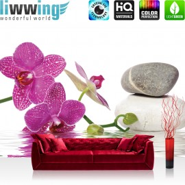 "Vlies Fototapete ""no. 1306"" | Wellness Tapete Orchidee Wasser Steine Wellness pink | liwwing (R)"