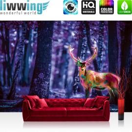 "Vlies Fototapete ""no. 1282"" | Tiere Tapete Hirsch Geweih Wald Natur bunt | liwwing (R)"