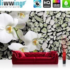"Vlies Fototapete ""no. 1340"" | Orchideen Tapete Orchidee Wellness Steine grau | liwwing (R)"