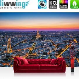 "Vlies Fototapete ""no. 1345"" | Frankreich Tapete Paris Eifelturm Nacht Frankreich blau | liwwing (R)"
