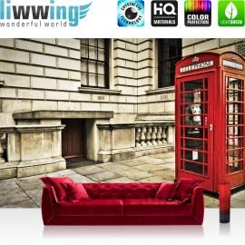 """Vlies Fototapete """"no. 1346""""   London Tapete London Vintage Telefonzelle rot   liwwing (R)"""
