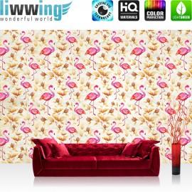 "Vlies Fototapete ""no. 1405"" | Tiere Tapete Tier Flamingo Blätter Malerei Farbe pink | liwwing (R)"