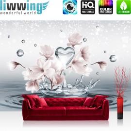 "Vlies Fototapete ""no. 1411"" | Wasser Tapete Tropfen Blume Blüte Herz Liebe Welle Sterne grau | liwwing (R)"