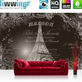 "Vlies Fototapete ""no. 1367"" | Frankreich Tapete Ornamente Blume Eifelturm Schriftzug Frankreich Paris grau | liwwing (R)"