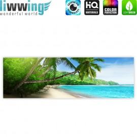 "liwwing (R) Marken Leinwandbild ""Paradise Beach"" | Panorama | Strand Meer Palmen Beach 3D Ozean Palme"