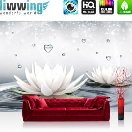 "Vlies Fototapete ""no. 1413"" | Wasser Tapete Tropfen Blume Blüte Seerose Herz Liebe Welle weiß | liwwing (R)"