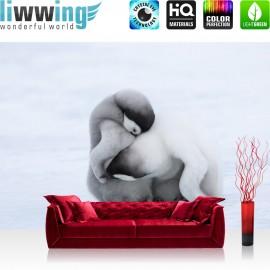 "Vlies Fototapete ""no. 1378"" | Tiere Tapete Pinguin Tiere Schnee Fell Liebe weiß | liwwing (R)"