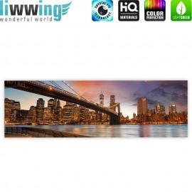 "liwwing (R) Marken Leinwandbild ""New York Bridges Skyline"" | Panorama | New York City USA Amerika Big Apple"