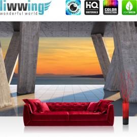 "Vlies Fototapete ""no. 1427"" | Sonnenuntergang Tapete Terrasse Fliesen Meer Berge Sonnentuntergang Schatten grau | liwwing (R)"