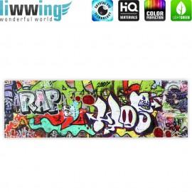 "liwwing (R) Marken Leinwandbild ""Graffiti Stone Wall "" | Panorama | Kinderzimmer Graffiti Streetart Graffitti 3D"