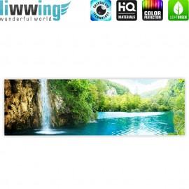 "liwwing (R) Marken Leinwandbild ""Waterfall in Paradise"" | Panorama | Wasserfall Berge See Wald Bäume Landschaft"