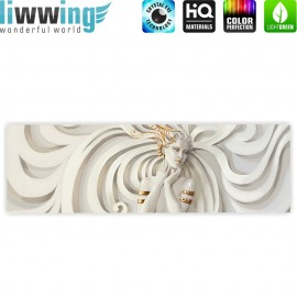 "liwwing (R) Marken Leinwandbild ""A Perfect Woman"" | Panorama | Frau Erotik Gold elegant 3D Wand"
