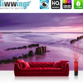 "Vlies Fototapete ""no. 1578"" | Wasser Tapete Strand Himmel Meer Wasser Horizont lila | liwwing (R)"
