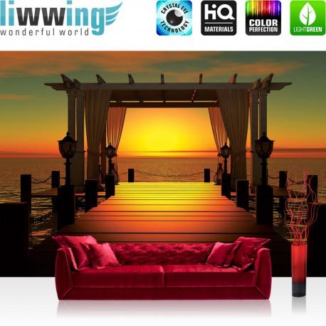 "Vlies Fototapete ""no. 1555"" | Sonnenuntergang Tapete Sonne Meer Steg Horizont orange | liwwing (R)"