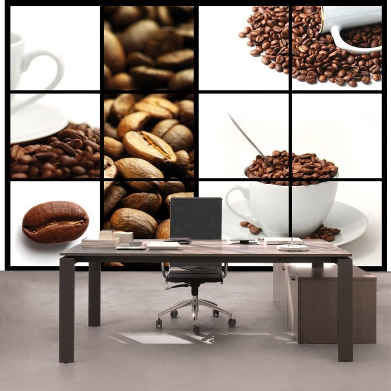 vlies fototapete no 1587 vliestapete liwwing r kaffee tapete bohnen kaffeetasse kaffee wei. Black Bedroom Furniture Sets. Home Design Ideas