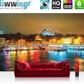 "Vlies Fototapete ""no. 1540"" | Wasser Tapete Lightning Boote See Moschee Stadt gelb | liwwing (R)"