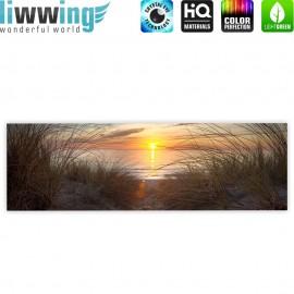 "liwwing (R) Marken Leinwandbild ""North Sea Sunset"" | Panorama | Strand Meer Ostsee Beach Blau Himmel Sonne Sommer"