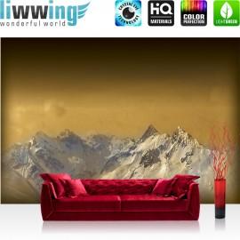 "Vlies Fototapete ""no. 1622"" | Landschaft Tapete Berge Schnee Himmel gold | liwwing (R)"